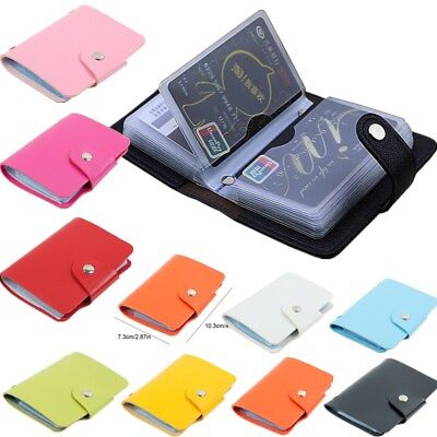PU Leather Function 24 Bits Card Case Business Card Holder Credit Passport -