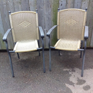 2 WIKKERED aluminum frame chairs - $10 each