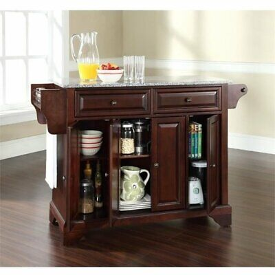 Bowery Hill Solid Granite Top Kitchen Island in Mahogany ()