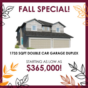 1733 SQFT Double Garage Duplex – Starting at $365,000!