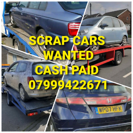 WANTED SCRAP CARS VANS CASH PAID ON COLLECTION