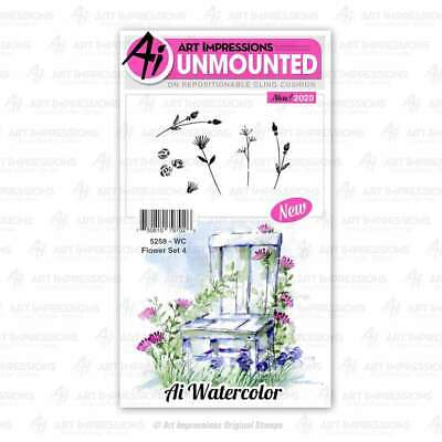 Art Impressions Watercolor Cling Rubber Stamps  WC Flower Set 4 750810797026