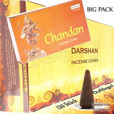 CHANDAN von Darshan Räucher-KEGEL BIG PACK 12x 10 KEGEL Räucherkerzen