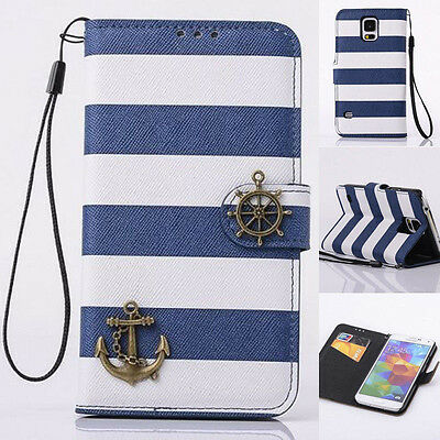 Navy Stripes Anchor Rudder Wallet Flip Case Cover For Various Mobile Cell Phones