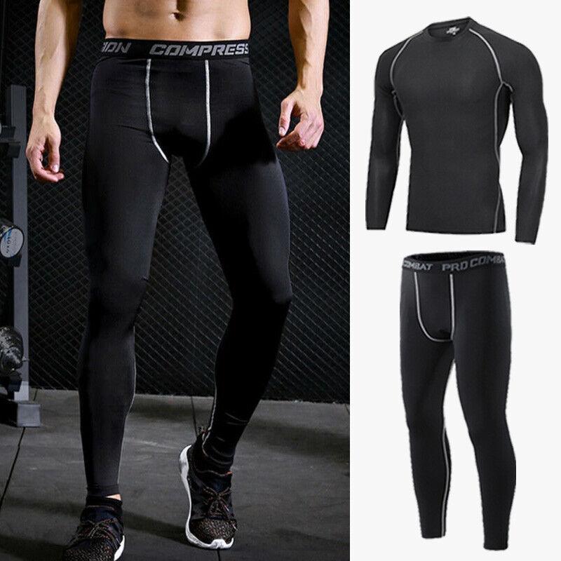 Men Compression Base Layer Shirt Pants Shorts Gym Clothes Running Sport T-shirt