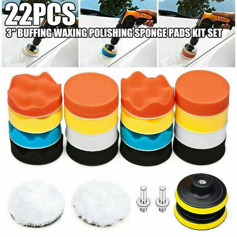 23pcs 3Inch Car Buffing Pads Polishing for Drill Sponge Kit Waxing Foam Polisher