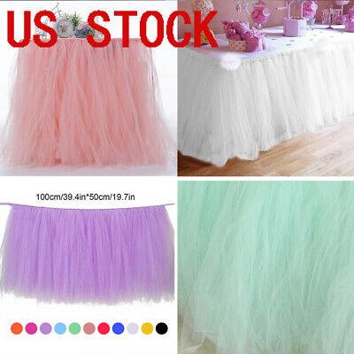 Tulle TUTU Table Skirt Cover Birthday Wedding Festive Party Decor Table Cloth -1