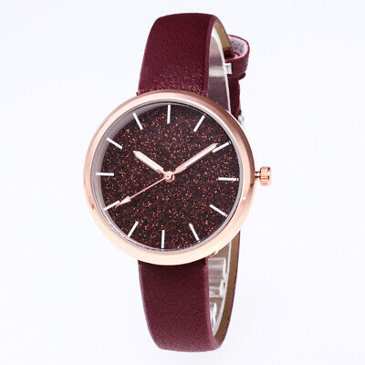 Round Dial Women Casual Bracelet Watch Leather Band Analog Quartz Wrist Watches