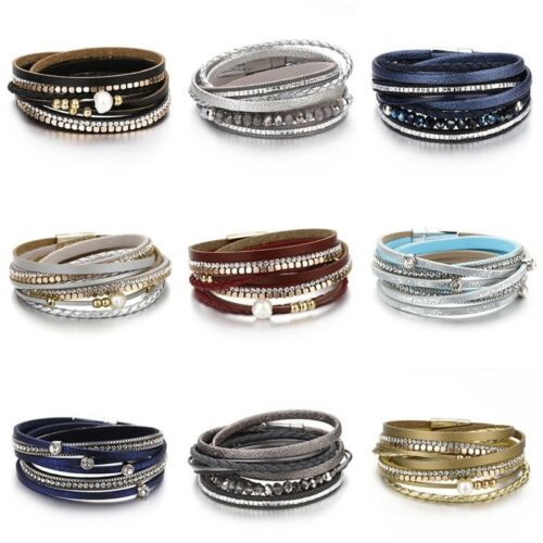 Fashion Women Multilayer Leather Rhinestone Crystal Beads Pearl Charm Bracelet