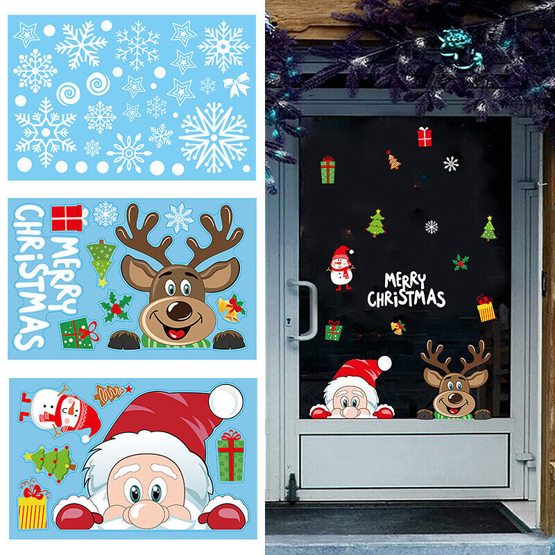 Home Decoration - Christmas Wall Stickers Wall Window Glass Home Decoration Sticker Decal Mural UK