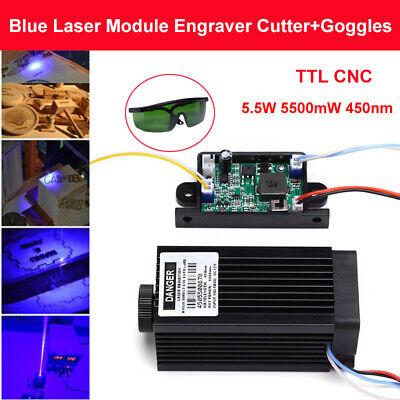 Diy Ttl Cnc 5.5w 5500mw 450nm Blue Laser Module Engraver Machine W Free Goggles