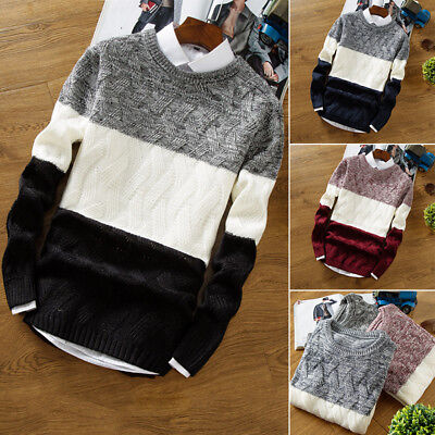 Men's Pullover Sweaters Striped Knitted Sweater Stitching Hedging Sweatershirt