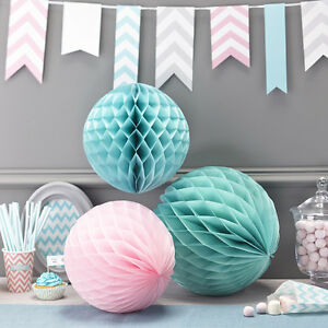 Honeycomb Paper Ball Decorations - Wedding Party Christening Green & Pink x 3
