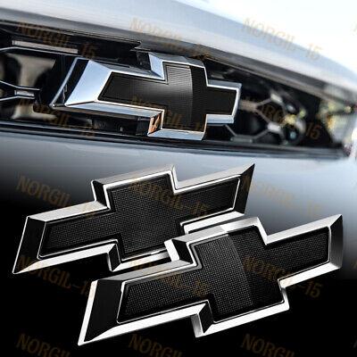 For 2014-2018 Chevy Chevrolet Impala Front Grille +Rear Bowtie Emblem Set Black