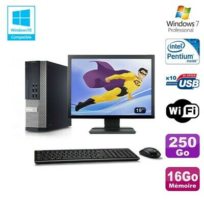 Lot PC DELL Optiplex 7010 SFF G870 DVD 16Go Disque 250Go Wifi Win 7 + Ecran 19