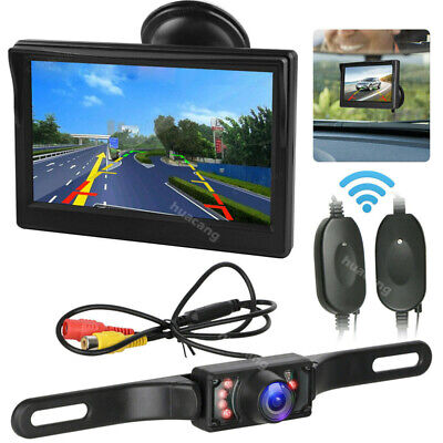 Wireless License Plate Backup Rear View Camera and 5