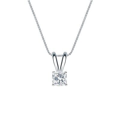 1 Ct Cushion Brilliant Cut Solid 14k White Gold Solitaire Pendant 18