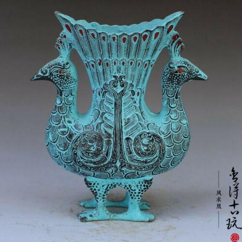 Antiques China Handmade Antique Bronze Double Peacock Decoration