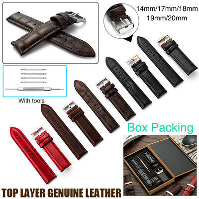 Luxury Genuine Leather Watch Strap 14-20mm Silver/Rose Gold Buckle with Gift - Black Leather Strap Gift Box