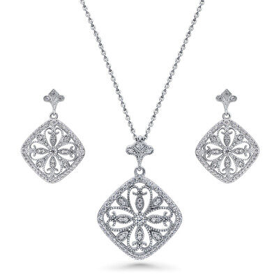 BERRICLE Silver CZ Vintage Style Art Deco Filigree Flower Necklace Earrings Set
