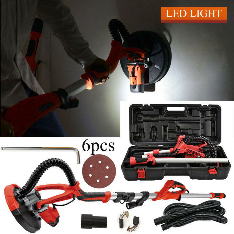 750W Drywall Sander Electric Sanding Tool Dry Wall Carrying Case Kit + Led Light