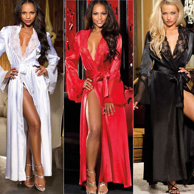 Women Sexy Long Silk Kimono Dressing Gown Bath Robe Babydoll Lingerie Nightdress