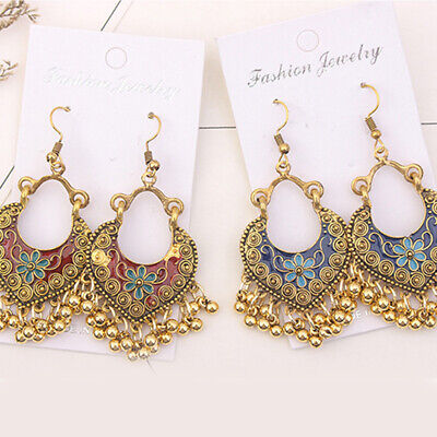 Heart Shaped Kundan Style Earrings Tassel Gold Plated Hand Painted Acrylic Acrylic Gold Plated Earrings