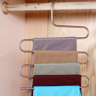 Towel Hanging Hanger Rack Organizer Stainless steel Jeans Space Saver Creative (Jeans-space Saver Hanger)