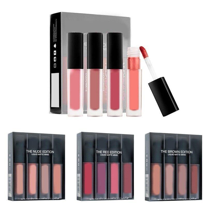 4Pc / Set wasserdicht matt Lipgloss Flüssigkeit langlebig Lippenstift Make-up