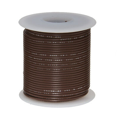 18 Awg Gauge Solid Hook Up Wire Brown 25 Ft 0.0403 Ul1007 300 Volts