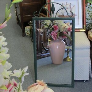 "WALL MIRROR WITH GREEN FRAME 16"" X 33"" HALL BATHROOM BEDROOM"