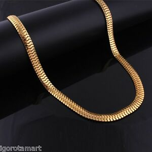 Light Weight 24K Gold Plated Flat Snake Bone Hip Hop Herringbone Chain Necklace