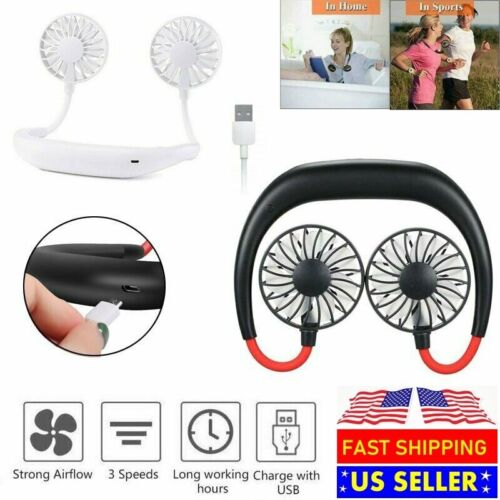 Portable USB Rechargeable Lazy Fan Hanging Neck Mini Cooling Sports Rest Fan Heating, Cooling & Air