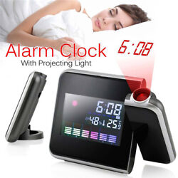 Projection Digital Weather LCD Snooze Alarm LED Backlight Clock Color Display