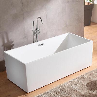"67"" Rectangle Tub Freestanding Acrylic White Bathtub with Chrome Center Drain"