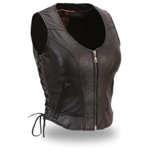 542 Ladies Side Lace Vest Zip Front