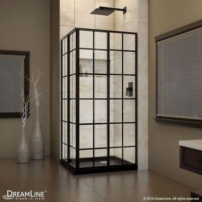 DreamLine French Corner 36 x 36 x 72 Framed Sliding Shower Courtyard Satin Black
