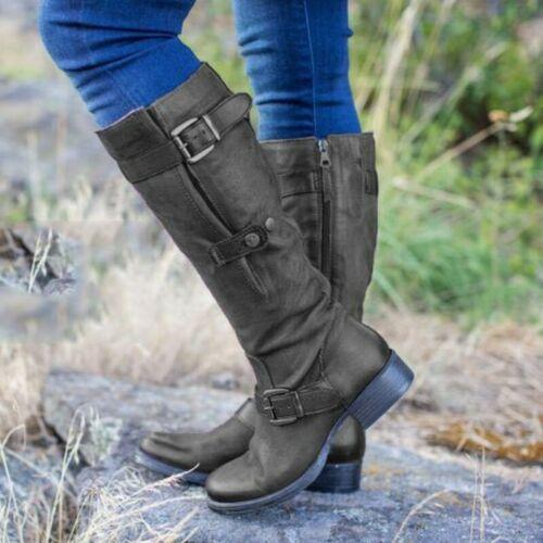 Women/'s Mid-Calf Boots Low Block Heel Side Zip Buckle Riding Boots Combat Biker