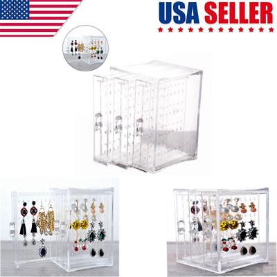 (Acrylic Jewelry Storage Box Earring Display Stand Organizer Holder 3 Drawer)