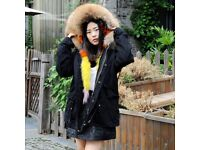 DAYMISFURRY-- Dyed Colorful Fox Fur Lined Parka with Natural Raccoon Fur Hood