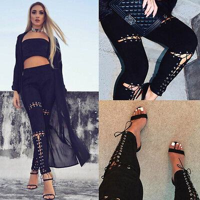 Women High Waist Lace Up Cut Out Bandage Skinny Denim Jeans ...