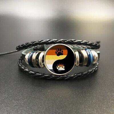 Yin Yang Tai Chi Bear Paw Leather Charm Bracelets Unisex Fashion Trendy (Black) (Tai Chi Leather)