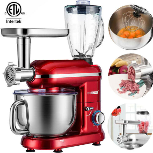 3in1 Food Stand Mixer Stainless Steel Bowl Meat Grinder Blender Juicer 6QT Speed