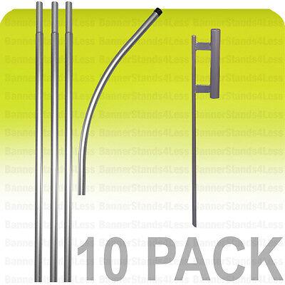 10 Pack -swooper Feather Flag Pole 15 Spike Kit Flutter Banner Sign Wholesale