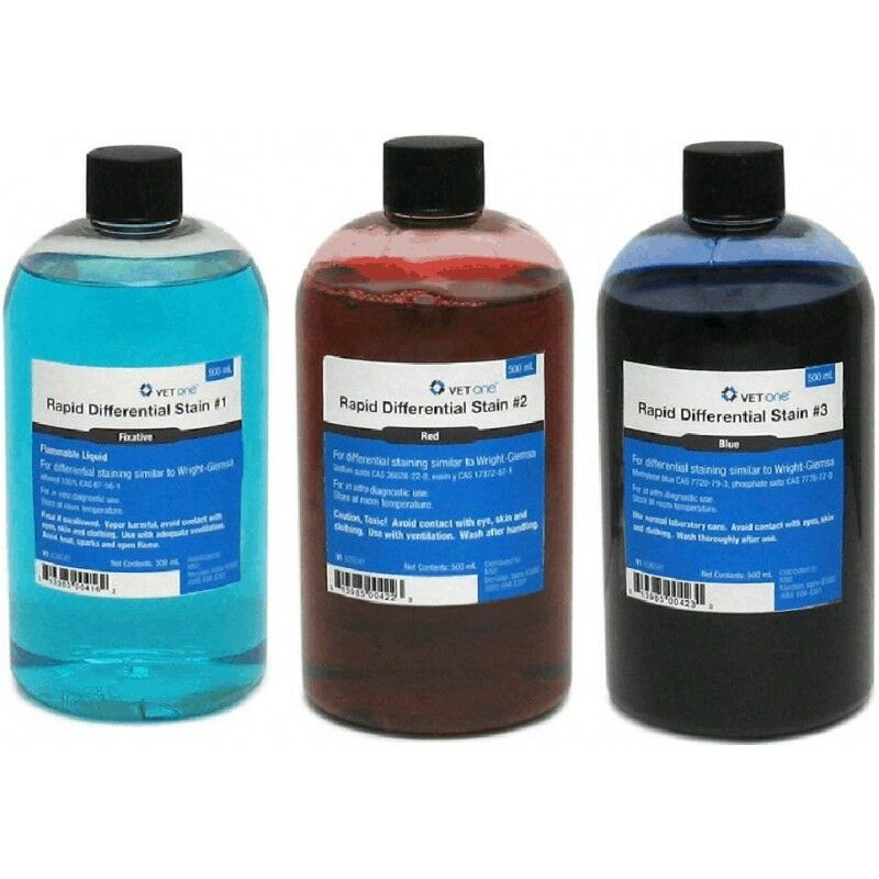 Vet Supply Dip Quick Stain Refill Kit Testing Labs Slides Vet 500 ml