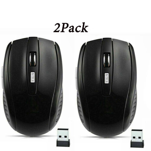 2X 2.4GHz Wireless Optical Mouse Mice USB Receiver For PC Laptop Computer DPI