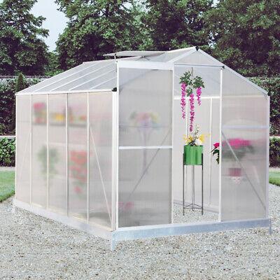 Clear Polycarbonate Greenhouse Aluminium Metal Frame Base Slide Door UV-Proof UK