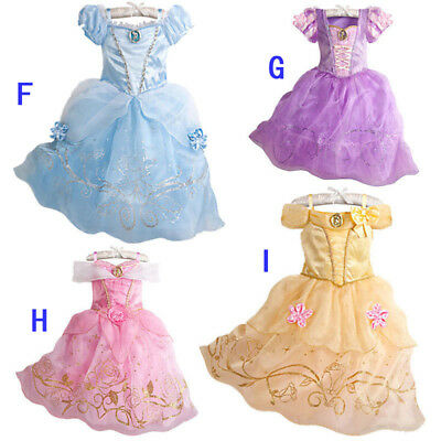 Kid Girl Princess Costume Fairytale Dress Up Belle Cinderella Aurora Rapunzel UK