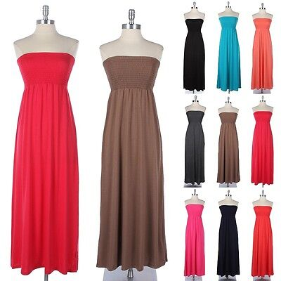 Strapless Shirred Upper Tube Maxi Sun Dress Full Length Cute Stylish Comfy S M L