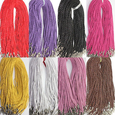 Hemp Cord Necklace (Lot 5/10/20/50Pcs Leather Braid Rope Hemp Cord Lobster Clasp Chain Necklace)
